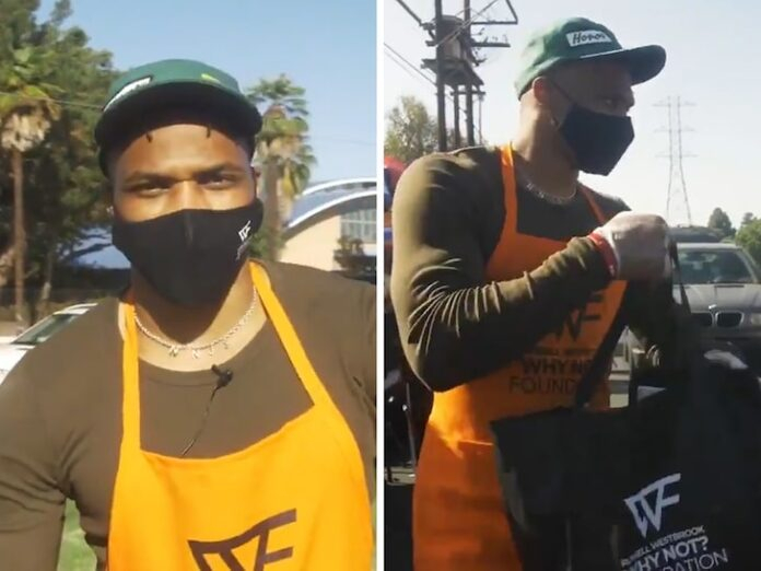 Russell Westbrook Leads COVID-Safe Thanksgiving Food Giveaway in L.A., Great Video