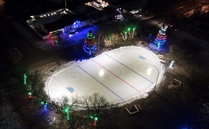 An overhead view of the outdoor rink in Kipling, Sask.