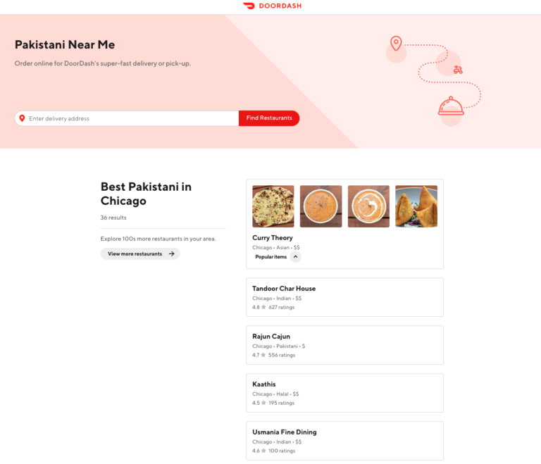 Doordash dashboard example; product pages are optimized for user intent.