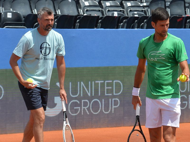 Former Wimbledon champion Goran Ivanisevic, left, now coaches top-ranked Novak Djokovic.
