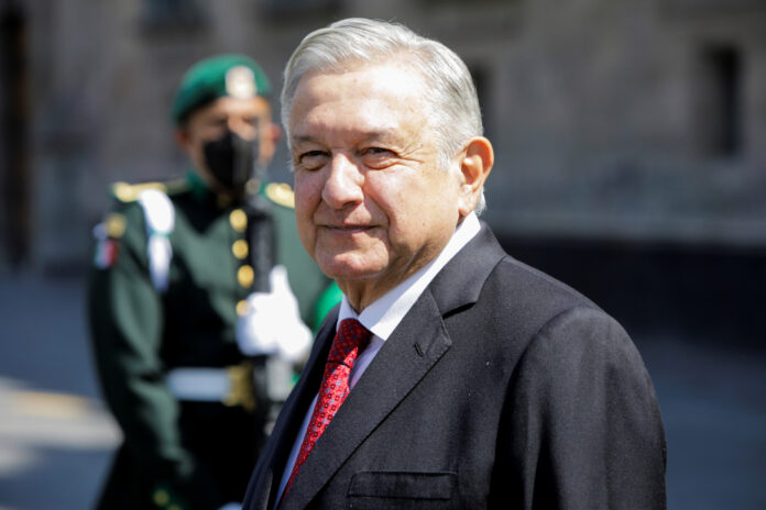 Mexican President Andres Manuel Lopez Obrador at the National Palace in Mexico City, Mexico on February 23, 2021.
