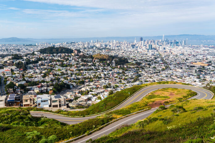 A wide view of Twins Peak in San Francisco