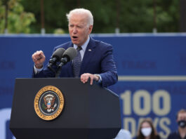 "President Joe Biden appeased to protesters calling for the end of private detention centers, saying ""There should be no private prisons, period."""
