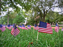 Washington University students lined Mudd Field with 2,977 flags in remembrance of the lives lost on 9/11.